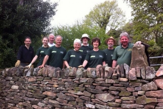 DerwentWISE volunteers building dry stone walls